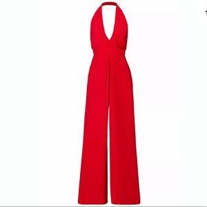Jill Stuart Red 6 Halter Wide Leg V-Neck Jumpsuit